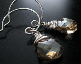 swarovski crystal sterling silver earrings - golden shadow