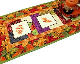 Autumn Leaves Quilted Fall Table Runner, Orange, Green and Rust Table Runner Quilt, Quiltsy Handmade