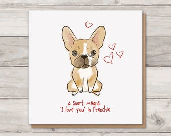 French Bulldog Valentines Card | Frenchie Card | Cute Cards | Dog Lover | Love Cards