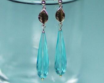 14 k gold and blue quartz earrings