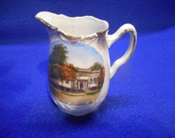 Savanna, Illinois Commemorative Porcelain Pitcher, Public Library
