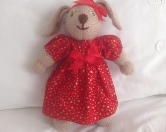 Easter present, Bunny rabbit, hand knitted with pretty red hand made fabric dress