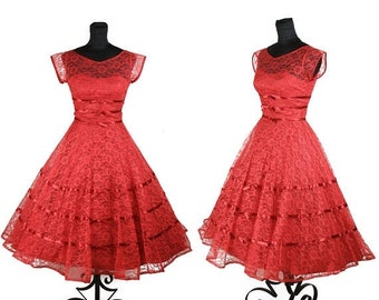 ON SALE 1950s Dress // Red Lace Full Skirt Party Dress with Ribbons