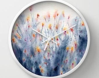 Wildflowers Wall Clock - Kitchen Clock Modern Decor Wall Clock - Floral Painting