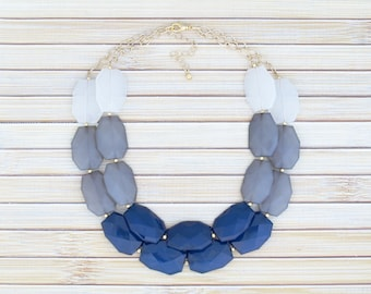 Navy Blue Statement Necklace, Nautical Ocean Jewelry Classic Style Beaded Necklace, Multiple Color Block Chunky Necklace, Large Bead Jewelry