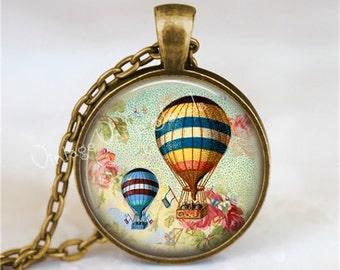 HOT AIR BALLOON Necklace, Hot Air Balloons Over Paris France, Glass Bezel Art Pendant Necklace