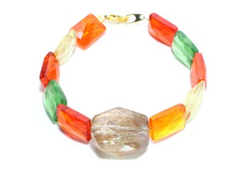 Faceted orange green yellow gold glass beaded layer stack bracelet