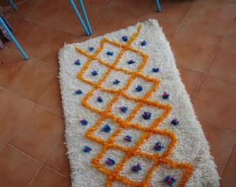 Beni ourain rug, 30% OFF Moroccan rug, Moroccan small rug, nursery rug, baby rug, yellow turquoise rug, soft rug, Morrocan rug