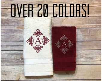 Custom Towels, hand towel, bath towel, bathroom, personalized gift, embroidered  towels, bathroom decor, Monogrammed towel, august ave, bath
