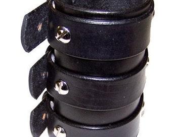 Item 040911 Zakk Wylde Style Tripple Belted Leather Gauntlet
