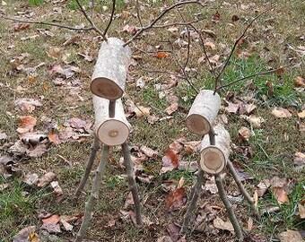 Rustic Log Reindeer - 1 Large, 1 Small