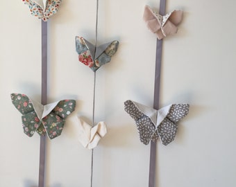 Mobile three garlands butterflies fabric origami hanging