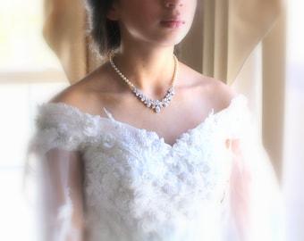 Pearl Wedding necklace, Rose Gold necklace, Wedding jewelry, Bridesmaids necklace, Swarovski necklace, Pearl necklace, Crystal necklace