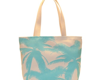 Small Shopping Tote, Waterproof lined, Tiffany Blue Palm Trees, Made in Hawaii