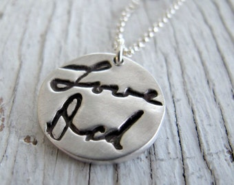 Handwriting Jewelry, Signature Necklace, Child's Handwriting, Memorial Jewelry, Hand Stamped, Fine Silver