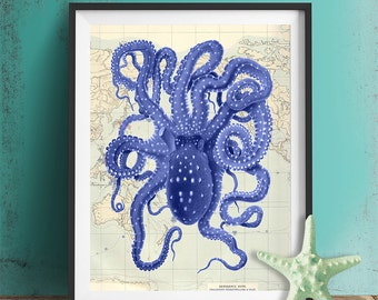 Nautical Map & Blue Octopus 2 Octopus print Octopus poster Octopus art print Nautical Office decor Blue home decor Beach House art man cave
