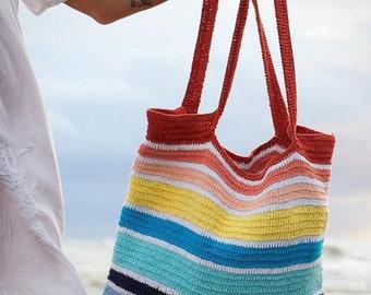Crochet Multicolor Tote Bag.