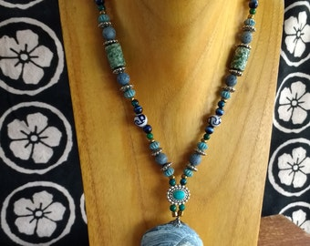 Blue Shell and Turquoise Necklace