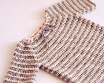 Crochet PATTERN - Raglan Baby Sweater (sizes baby, toddler)