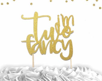 1 pc I'm two fancy modern script fonts gold silver glitter second birthday cake topper girl