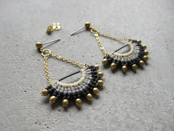 I N T I . Long Dangling Fiber & Brass Earrings . Micro Macrame © Design by .. raïz .. Design by .. raïz ..