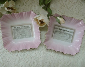 Unusual Vintage New York Times And New York Herald Porcelain Bowls Dishes