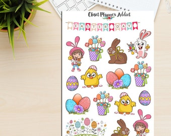 Happy Easter Planner Stickers | Easter Stickers | Bunnies Stickers | Easter Eggs | Easter Egg Hunt | Chocolate Bunnies (S-219)