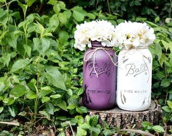 Two Painted Mason Jar Vases. Half Gallon Mason Jar. Bud Vase. Glass Vase. Floral Arrangement. Flower Holder. Mason Jar Vase. Rustic Vases.