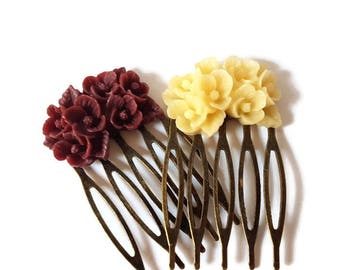 Beige Maroon Antique Brass Flower Hair Combs-Set of Two-Victorian Wedding-Shabby Chic Combs-Regency-Austen-Bridal Party-Bridesmaid Gift-Prom