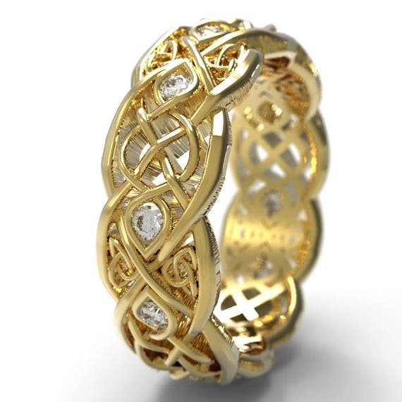 Gold Infinity Wedding Band With Moissanite, Gold Celtic Ring, Unique Wedding Ring, Celtic Wedding Band, 10K 14K 18K Gold Palladium Plat 1052