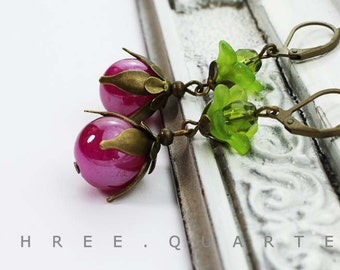Earrings, fuchsia, pink, pearl, berry, fruit, red, berries, green, antique, bronze, romantic, bronze, vintage, gift, olive green