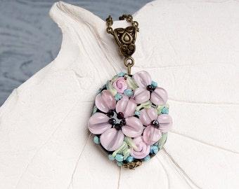 Light pink flowers lampwork pendant, flowers necklace, pale pink pendant, nature pendant, floral pendant, blossom pendant, lampwork necklace