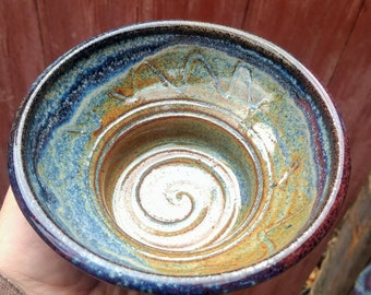 Azurite blue wet shaving bowl/mug, scuttle with recessed soap Puck holder.