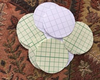 """50 Vintage Graph Paper 1.5"""" Circle Die Cuts"""