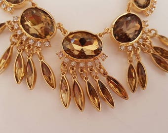 Statement Necklace Amber Necklace Amber Vintage Necklace 1930s Necklace 1920S Necklace  Christmas Necklace Gatsby Necklace