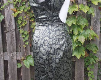 Vintage 1980's Futuristic Snakeskin Backless Dress by Shadao, Size 5