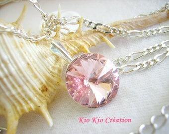 Choker necklace, pendant cabochon swarovski crystal, round, rivoli, pink, metal-925 sterling silver, whimsical jewelry, women, gift idea