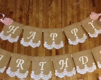 Happy Birthday Banner, Shabby Chic, Burlap, Lace, Burlap Banner