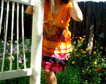 Orange pink retro Steve Nicks boho slipdress hippie fashion upcycled eco chic pixie festival wear vibrant gypsy dress handsewn applique