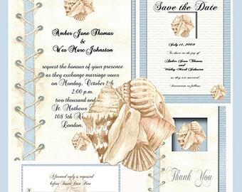 Romantic Seashell  Invitation Package Editable Download