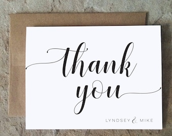 Personalized Thank You Cards - Wedding Graduation All occassion Thank You Notes - Black and White Thank Yous Script  - set of 10+