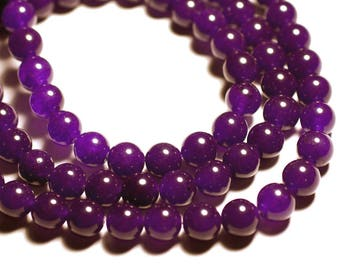 Wire 39cm env - stone beads - Jade balls 10 mm purple 37pc