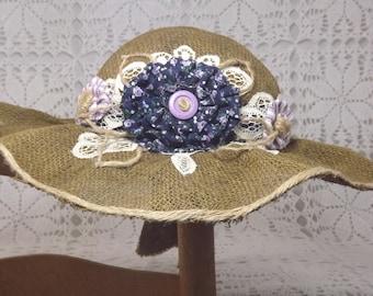 Easter Bonnet,Gardening Hat,Wedding Hat,Bridemaids Hat,Sun Bonnet, Beach Hat, Burlap Hat