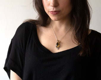 Honey Bee - Bee Necklace - Gold Bee - Biology Jewelry - Hand Carved Bee - Honeycomb - Bee Jewelry - Bee Pendant - Taxidermy - Witchy Jewelry