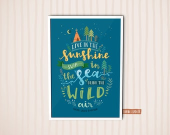 Lettering Quote Ralph Waldo Emerson | Poster Illustration Wall Art Print | Live in the sunshine