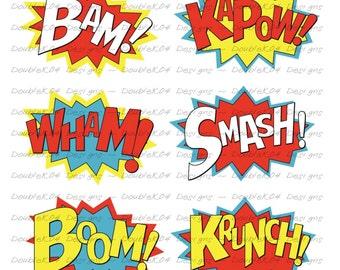 Superhero Sound Effects, Expressions, Bam, KaPow, Wham, Smash, Boom, Krunch