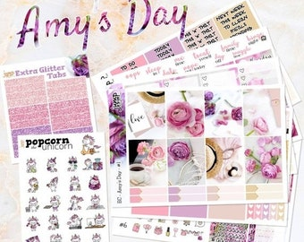 NewRELEASE Amy's Day pink floral set kit weekly stickers - Erin Condren VERTICAL Planner - flowers purple glitter roses