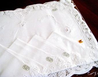 Vintage 4 Placemats 4 Napkins Set Battenburg Lace Snow White Cotton, MINT With Tags