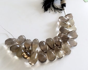 Smooth Smoky Quartz Drops14mm REDUCED FROM 22.00 TO 19.80