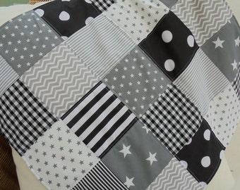 patchwork fleece backed baby snuggle blanket, moses basket blanket/ pram quilt, baby comforter blanket